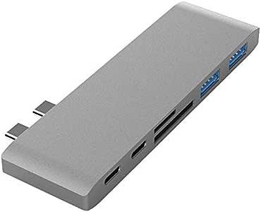 محطات الاقتران USB ثنائي النوع C لجهاز ماك بوك برو للكمبيوتر المحمول إلى قارئ بطاقات SD HDMI TF محطة توصيل محور 4K يدعم 2018 Mac Air G، رمادي