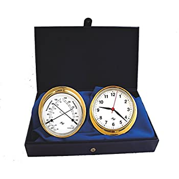 "Image of Master-Mariner First Light Collection, Nautical Cabin Gift Set, 5.75"" Diameter Clock and Comfort Meter Instruments, Gold Finish, Classic White dial Clocks & Barometers"