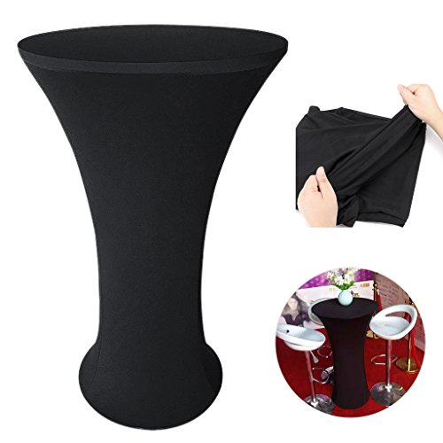 BTSKY Cocktail Highboy Fitted Tablecloth 24x43 inch - Spandex Stretch Round Pub/Bar Table Cover Tablecloths for Wedding, Banquet, Party Black (Round Base) (Iron Pub Table)