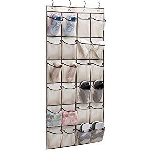 KIMBORA Over The Door Hanging Shoe Organizer 24 Large Clear Mesh Pockets Shoe Hanger, Beige