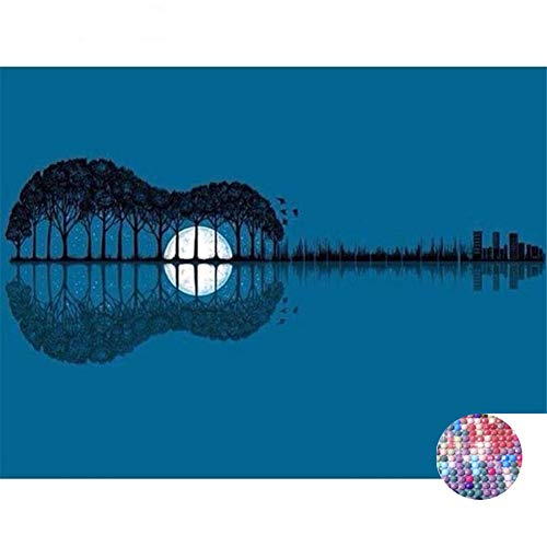 LIPHISFUN DIY 5D Diamond Painting by Number Kit for Adult, Full Round Resin Beads Drill Diamond Embroidery Dotz Kit Home Wall Decor,30x40cm,Guitar Moon Lake ()