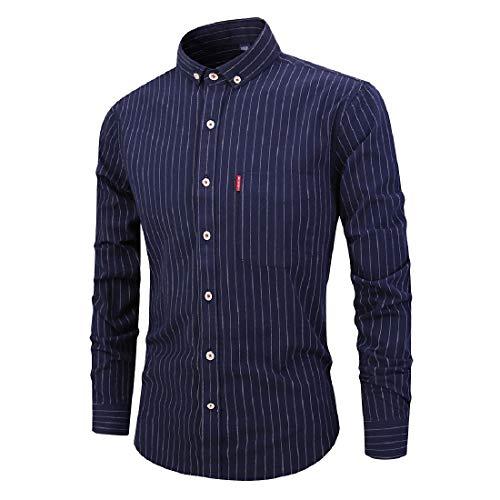 RDHOPE-Men Slim Fit Button Down Turn-Down Collar Stripe Long Sleeve T-Shirts Shirts Navy Blue 2XL ()