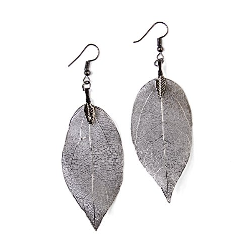 RIAH FASHION Bohemian Metal Dipped Natural Leaf Earrings - Lightweight Botanical Filigree Dangle Earrings (Hematite)