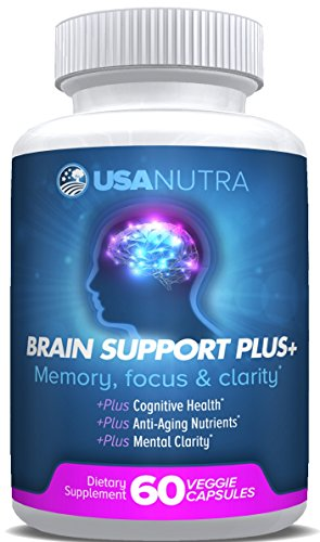 BRAIN SUPPORT PLUS – Advanced Brain Vitamins Plus Nootropics for Memory Focus and Clarity, Stress Relief. Bacopa Monnieri, Omega 3, DMAE, L Glutamine, Tyrosine, Huperzine A … 1000 mg per day