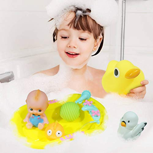 Livoty Baby Bath Toy Spillers StLivoty Baby Bath Toy Swimming Ring Bathtub Pool Water Cartoon Toys Little Yellow Duck Setacking and Straining Cups Bathtub Pool Water Table Bath Time Funny Toy - 11PCs