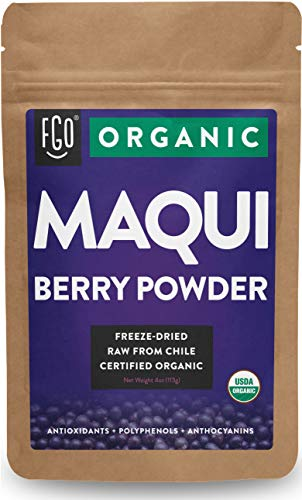 Organic Maqui Powder - 4oz Resealable Bag - 100% Raw From Chile - by Feel Good Organics (Juice Maqui Berry)