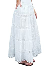 KayJayStyles Hobo Hippie Gypsy Bohemian Solid Color Long White Skirt India