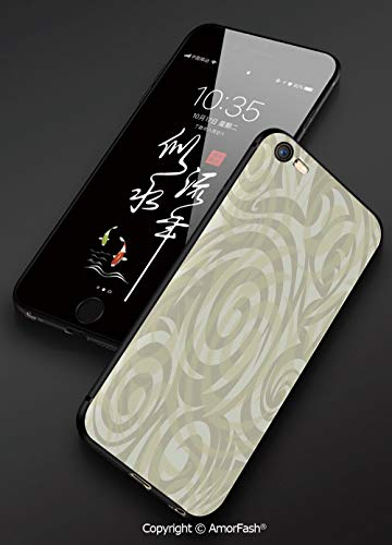 Modern Art,Printed iPhone 6s /6 Plus 3D Cell Phone TPU Case Silicone Protective Case Cover for iPhone 6s/6 Plus,Vintage Swirling Floral Design with Authentic Faded Colors Natural Effects,Khaki Beige