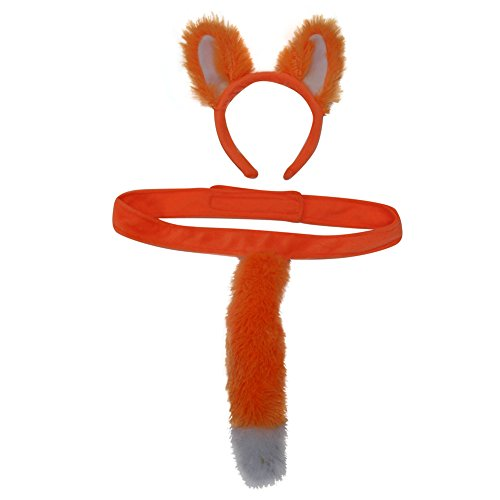 Kids Plush Bright Orange Fox Headband Ears & Tails Costume Set -