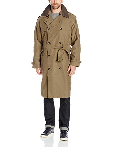 London Fog Men's Iconic Double Breasted Trench Coat with Zip-Out Liner and Removable Top Collar, British Khaki, 42R