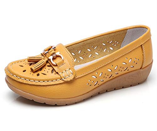 Women Loafers Leather Oxford Slip On Walking Flats Anti-Skid Boat Shoes (7 M US, W-Yellow)