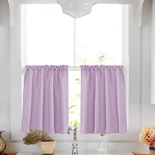 Waffle-Weave Textured Tier Curtains for Kitchen Water-Proof Window Curtains for Bathroom (72-inch x 24-inch, Lilac, Two Panels)