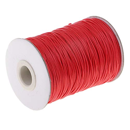 1 Roll 180 Yards 1mm Diameter Waxed Cotton Cord/Thong for Jewellery Making | Color - Red