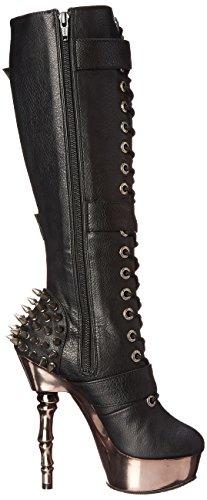 Vegan blk black Pleasermuerto Leather pewter Chrome Stivali Donna Nero 2028 xYwwq1Ca