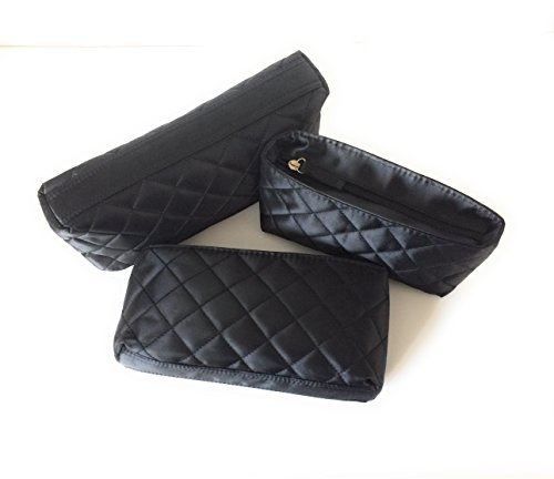 Black Satin Makeup Bags by Models-on-the-Go Set of Three (Cosmetic Quilted Bag)