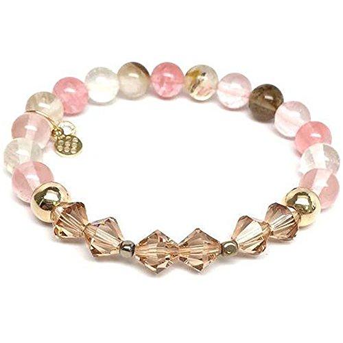 Chloe Sterling Silver Bracelet - Cherry Pink Quartz Swarovski Crystal