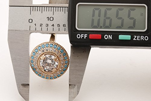 Turkish Handmade Jewelry Round Shape Topaz and Round Cut Turquoise 925 Sterling Silver and Bronze Ring Size Options