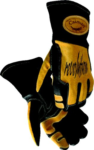 Caiman 1832-6 Extra Large Metal Inert Gas and Stick Welding Glove with Cowgrain Leather and Index Trigger Patch Cool Design Corrugated Foam