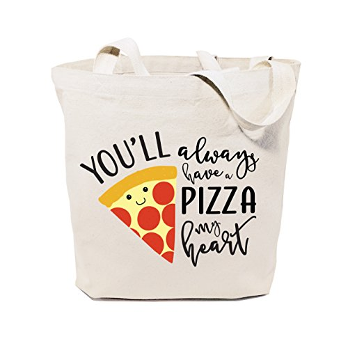 The Cotton & Canvas Co. You'll Always Have A Pizza My Heart Reusable Grocery Bag and Farmers Market Tote (Heart Pizza)