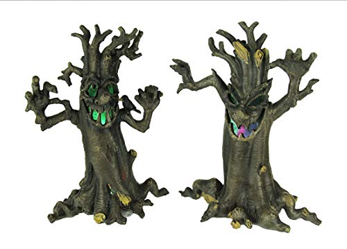 Zeckos Spooky LED Illuminated Scary Haunted Tree Set of 2 -