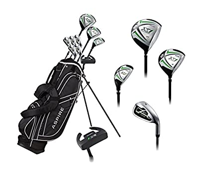 "Aspire X1 Men's Complete Golf Set Includes Titanium Driver, S.S. Fairway, S.S. Hybrid, S.S. 6-PW Irons, Putter, Stand Bag, 3 H/C's Right Hand Tall Size for Men 6'1"" and Above!"