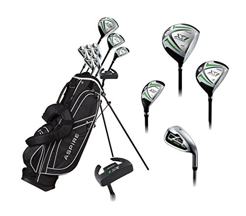 Aspire X1 Men's Complete Golf Set Includes Titanium Driver, S.S. Fairway, S.S. Hybrid, S.S. 6-PW Irons, Putter, Stand Bag, 3 H/C's Right Hand Tall Size for Men 6'1'' and Above! by Aspire