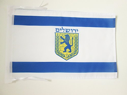 Jerusalem Flag - JERUSALEM FLAG 18'' x 12'' cords - JERUSALEM IN ISRAEL SMALL FLAGS 30 x 45cm - BANNER 18x12 in - AZ FLAG