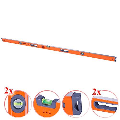 Wasserwaage 120 - 200cm orange Waage Aluminium Messwerkzeug Handwerker Werkzeug
