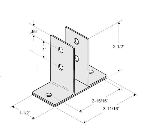 Stainless Steel Two Ear Urinal Screen Bracket for 1'' Restroom Partition Panels