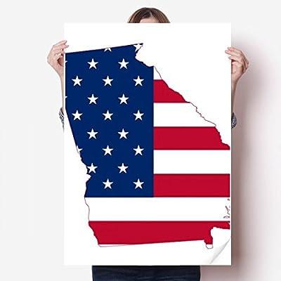 DIYthinker Georgia USA Map Stars Stripes Flag Shape Vinyl Wall Sticker Poster Mural Wallpaper Room Decal 80X55cm