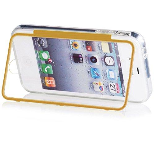 Apple iPhone 4 / 4S | iCues despejan el caso de TPU Azul | luz extra lámina transparente muy fina protector exterior gruesa dura de la caja a prueba de golpes 360 grados Pantalla de cuerpo completo ro Claro Oro