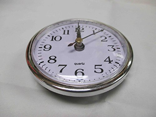 Silver Plastic Rim Quartz Clock Insert Arabic Numbers White Face Outside Diameter 79mm/ 3 2/16