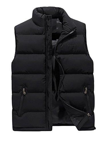 Pivaconis Mens Puffer Down Vest Solid Waistcoat Full-Zip Jacket Coat Black US (Western Down Vest)