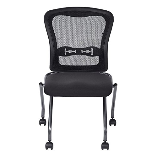 Office Star Deluxe Armless Folding Chair w/ ProGrid Back & Casters (Set of 2) ()