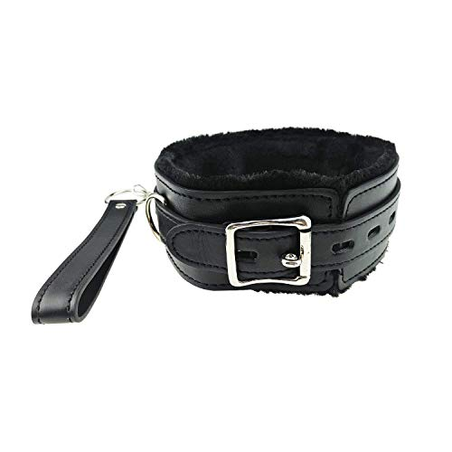 Dovior Soft Leather Choker Collar Fur Line Necklace and Chain Detachable Leash (Black)
