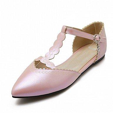 Cómodo y elegante soporte de zapatos de las mujeres pisos comodidad diseño de primavera verano otoño Charol Piel Sintética boda oficina y carrera vestido casual fiesta y noche soporte de talón rosa