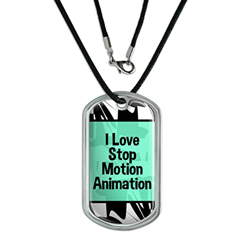 Graphics and More Dog Tag Pendant Necklace Cord I Love Heart Sports Hobbies St-Tu - Stop Motion Animation (Stop Motion St)