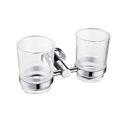 ximeiyangweiyu Bathroom Stainless Steel Double Tumbler with Holder Wall Mount Toothbrush Holder, Polished Chrome