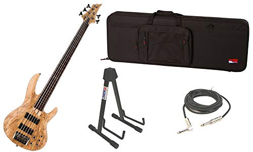 ESP LTD B Series B-205SM Spalted Maple Top 5 String Fretless Rosewood Fingerboard Natural Satin Electric Bass Guitar with Travel Road Case, Stand & 1/4