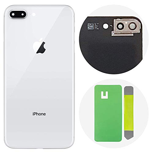 reputable site 8ebf4 2dd62 Best OEM iPhone 8 Plus Back Glass Cover Battery Door Replacement  w/Adhesive, Installed Camera Frame w/Lens (White)