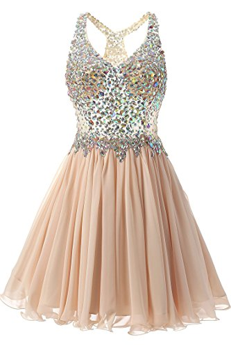 Beaded Short Dress Halter Dress (VogueDress Women's Short/Mini Halter A Line/Princess Homecoming Dresses Beaded Bodice Size 4 US Champagne)