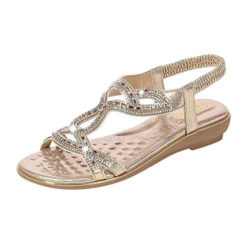 (Women's Bohemia Sandals Summer Crystal Peep Toe Beach T-Strap Flat Sandals Comfort Casual Shoes Gold)