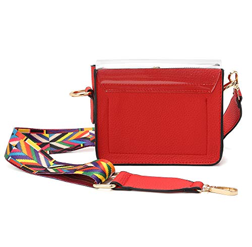 Messenger Crossbody Bags Bag Clear Strap Adjustable Red for Shoulder Women x6IrSqaw6