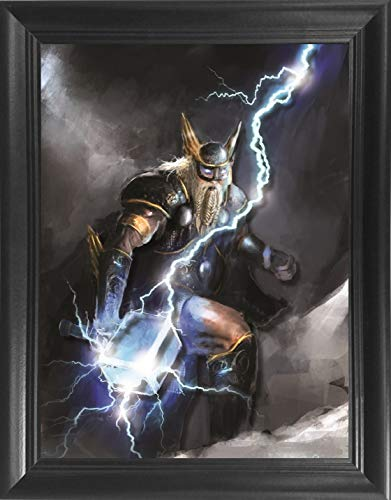 Thor's Hammer Framed 3D Lenticular Picture - Unbelievable Life Like 3D Art Pictures, Lenticular Posters, Cool Art Deco, Unique Wall Art Decor, With Dozens to Choose From!