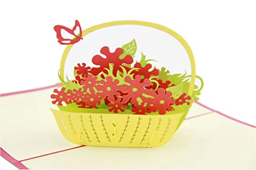 IShareCards Handmade 3D Pop Up Best Wishes Greeting Cards for Every Occasion (Butterfly Flower Basket)