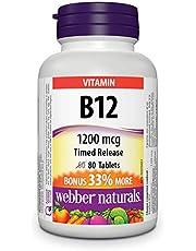 Webber Naturals Vitamin B12 Cyanocobalamin, Timed Release Tablet, 1,200 mcg, 80 Count