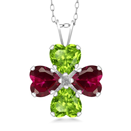 Gem Stone King 3.58 Ct Heart Shape Green Peridot Red Created Ruby 925 Sterling Silver Pendant