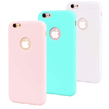 Leton 3X Funda iPhone 6s Silicona Suave Flexible TPU Carcasa Apple iPhone 6 Ultra Delgado Gel Tapa AntiChoque Candy Goma Cubierta Case Ultrafina Jalea ...