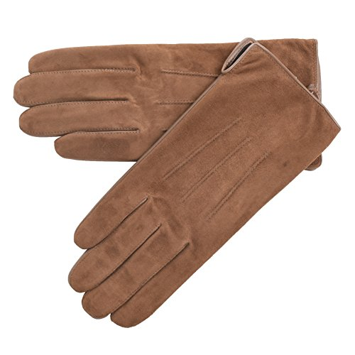 Lambland Ladies Suede and Leather Gloves in Camel Size Large / 8