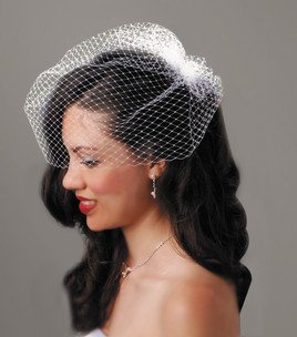 David Tutera Birdcage Veil with Comb - Cream - 18 inches